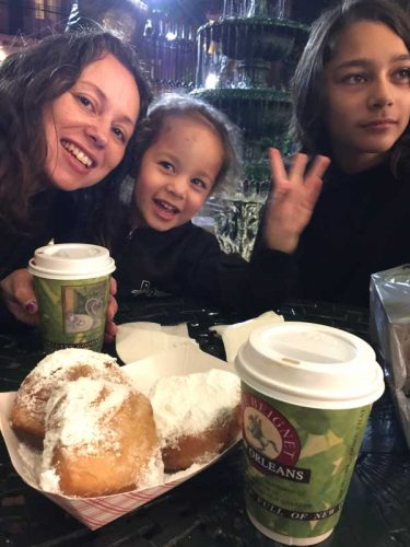 Eating Yummy Beignets and listiening to jazz music at Cafe Beignet