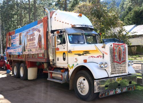 Cargo truck decorated for the Guadalupe festival