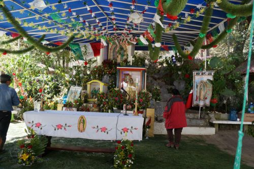 The makeshift church created for the feast day