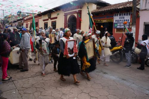 Pilgrims making their way to the Church of Guadalupe