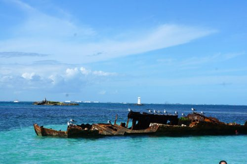 Shipwreck of a fishing vessel caused by a hurricane from over a decade ago