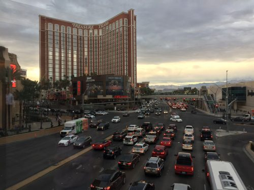The Strip has designated walkways guiding foot traffic over bridges and through most malls and hotels.