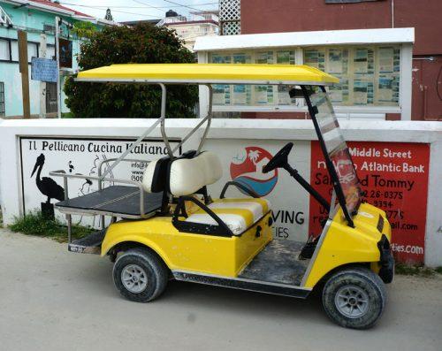 Golf carts on Caye Caulker