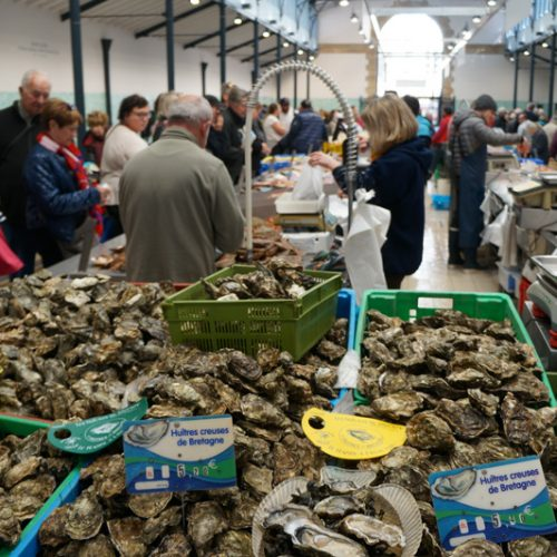 The seafood market is packed on market day in Vannes
