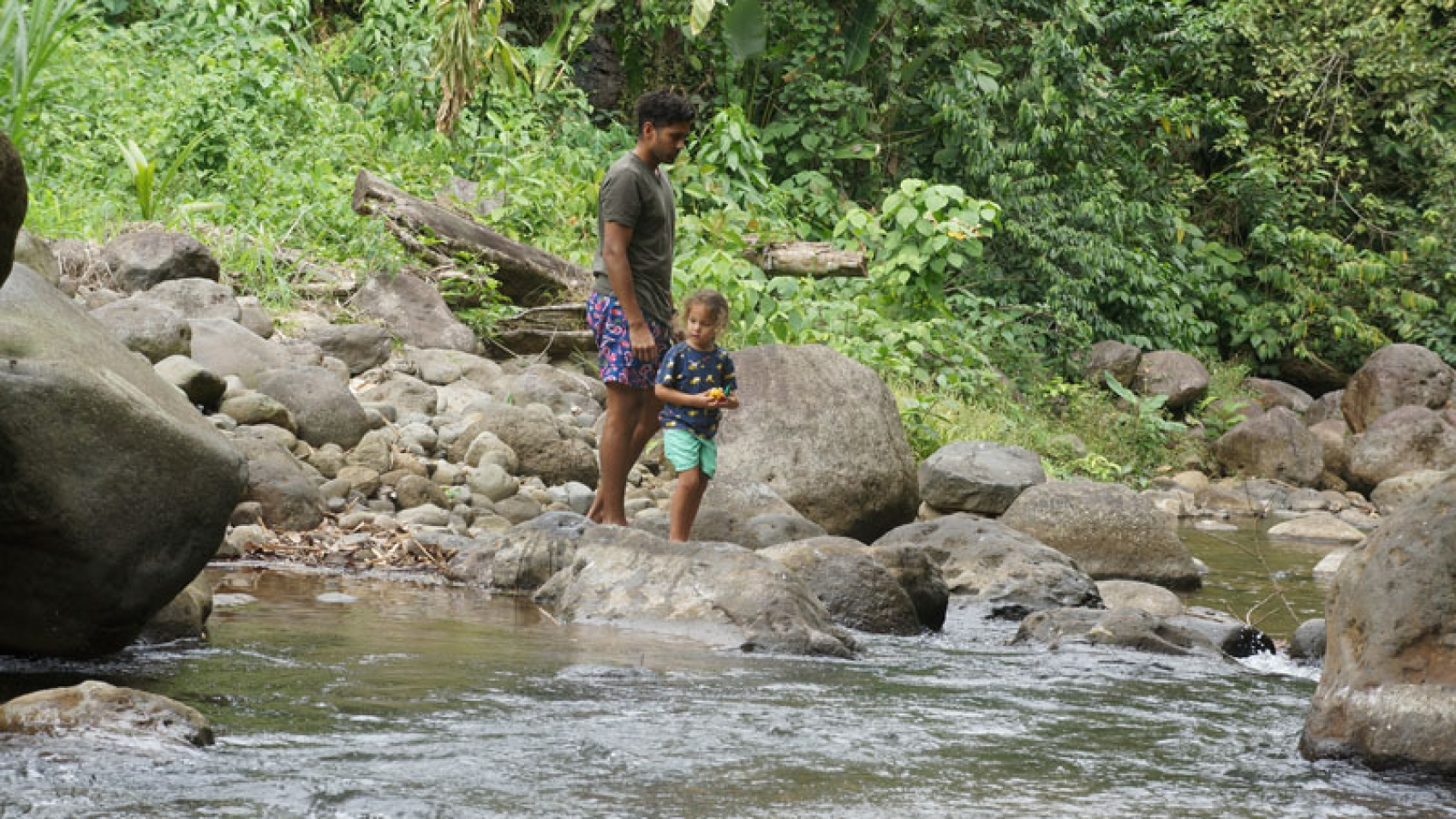 Exploring the river behind our house at La Fortuna