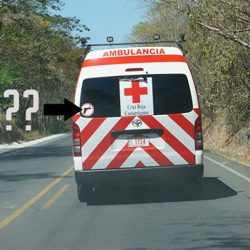 Ambulance with an unusual sign on it