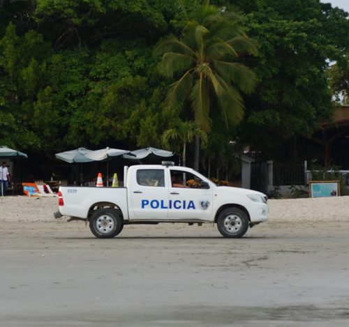 This police car regularly drove on the beach at Samara