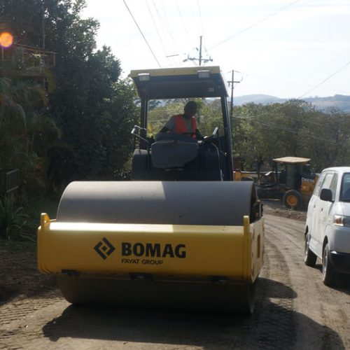 Fixing the roads near Monteverde