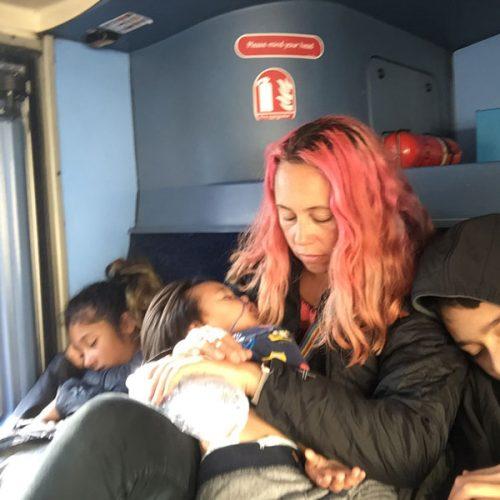Sleeping on the tour bus